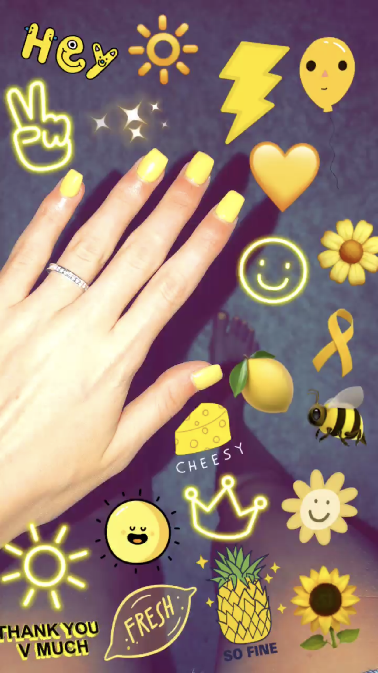 pinterest// mianicolleeee | irdk | Yellow nails, Emoji