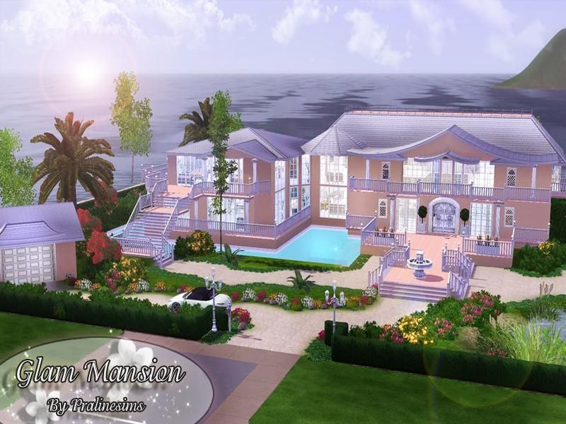 Glam Mansion Found In Tsr Category 39 Sims 3 Residential Lots 39 Mansions Sims House Sims 3