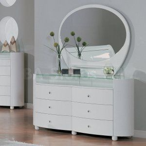 Best Evelyn White Glossy Dresser And Mirror Set Global 400 x 300
