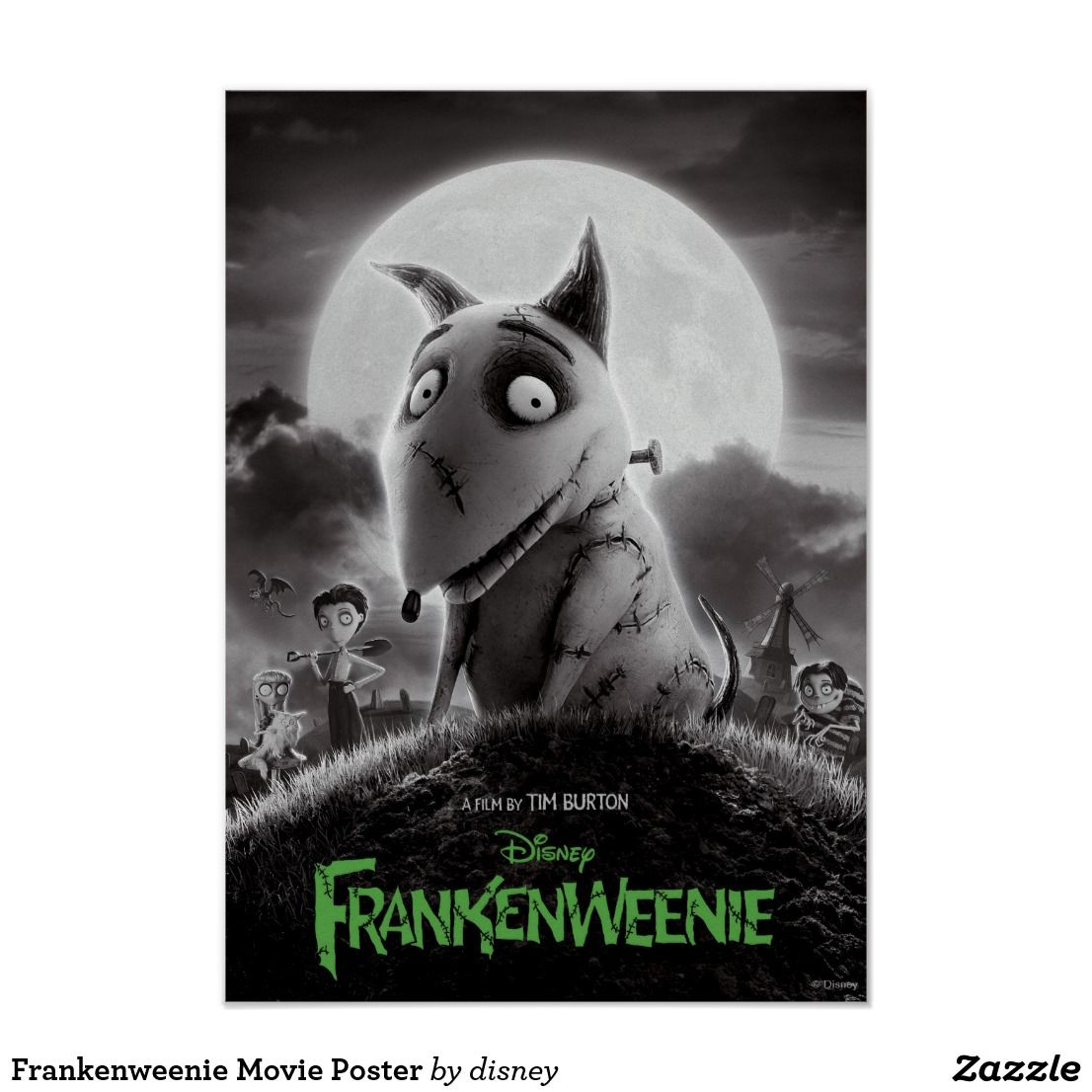 Frankenweenie Movie Poster Zazzle Com In 2020 Tim Burton Movie Halloween Movies Tim Burton Disney