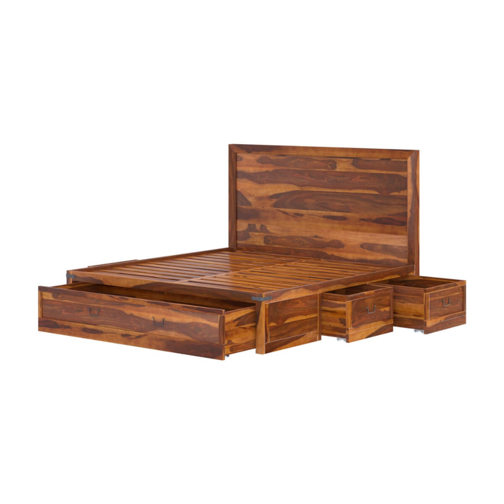 Classic Shaker Solid Wood Platform Bed With Storage Wood