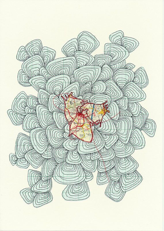 Original Drawing Heart Map Collage Graph Paper by paulamcgurdy - how to print graph paper in word