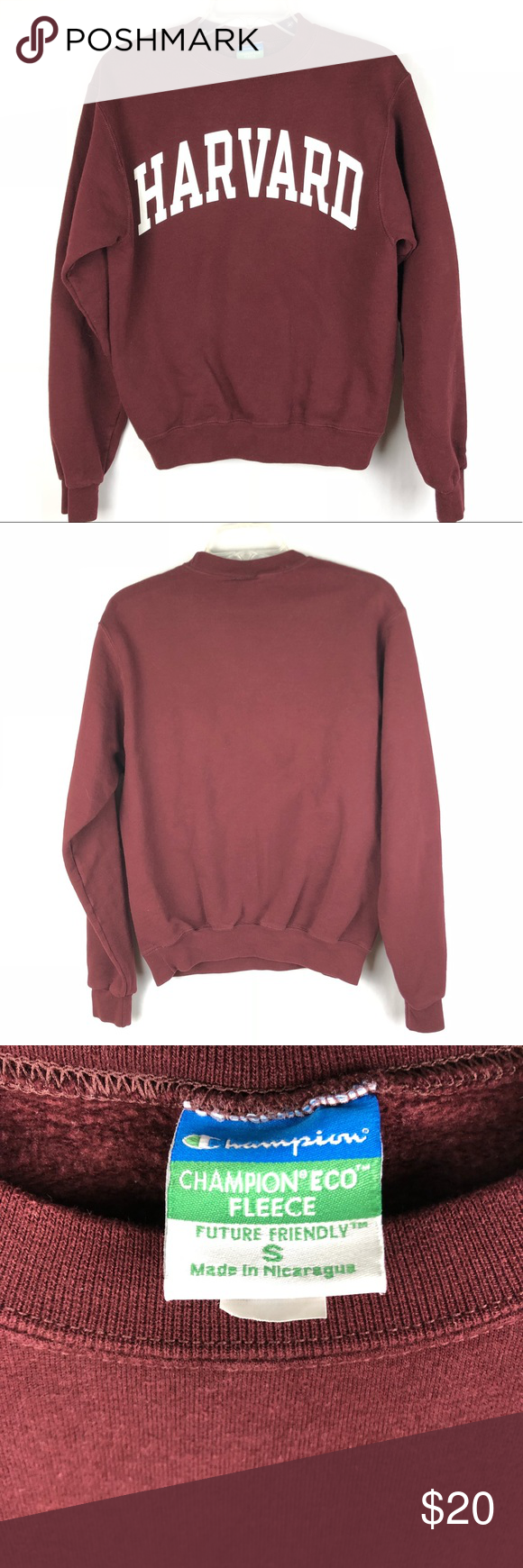Champion Eco Fleece Harvard Sweatshirt Size Small Sweatshirts Sweatshirt Fleece Harvard Sweatshirt [ 1740 x 580 Pixel ]