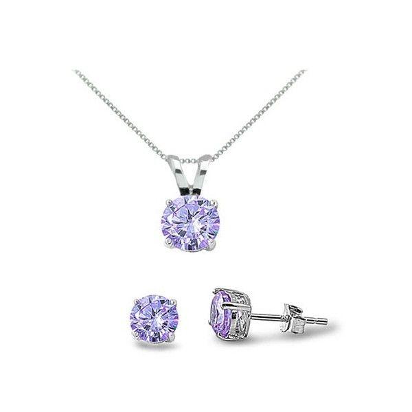 Amethyst Cz Sterling Silver Necklace Earrings Set Jpg