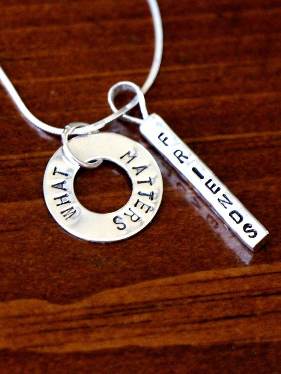 Bar Washer Personalized Hand Stamped Sterling by kandsimpressions Personalized Jewelry makes a great keepsake gift. This sterling silver necklace features a four-sided bar charm, which can be personalized on each side. Order a gift today for Mother's Day, wedding, anniversary, daughter, graduation, nanny, sorority sister or special friend. Personalization is free. Pick a combination of four words, names or dates and have fun creating something unique. The back side of the charm is perfect fo