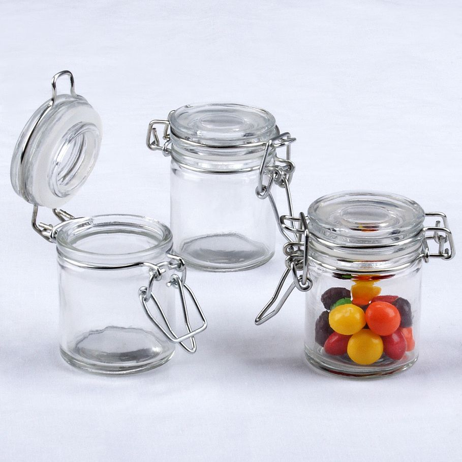 Mini Glass Favor Jars from Punchbowl. Fill with red and green sweets ...