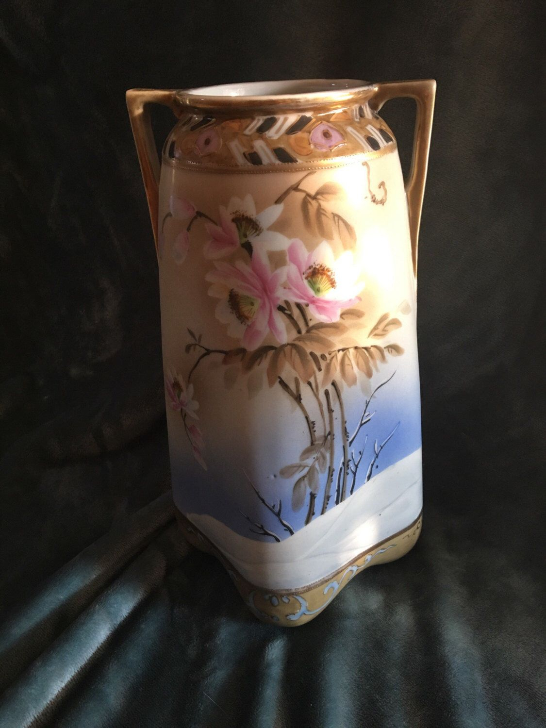 Antique imperial nippon hand painted vintage vase with snow antique imperial nippon hand painted vintage vase with snow flowers gold reviewsmspy