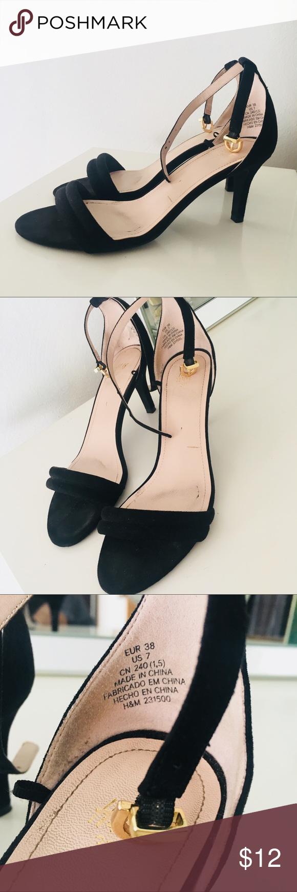 H M Black Suede Sandal Heel Sandals Heels Heels Ankle Strap Heels