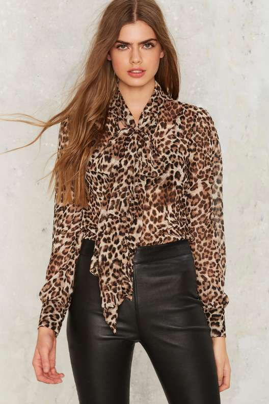 Nasty Gal Don't Ask Tie Pussy Bow Blouse - Leopard