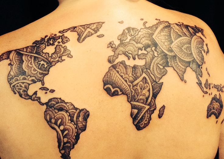 Follow me on pinterest melanin247 body art pinterest map henna inspired world map tattoo by the handsome and talented cristina ramella jewelry gumiabroncs Gallery