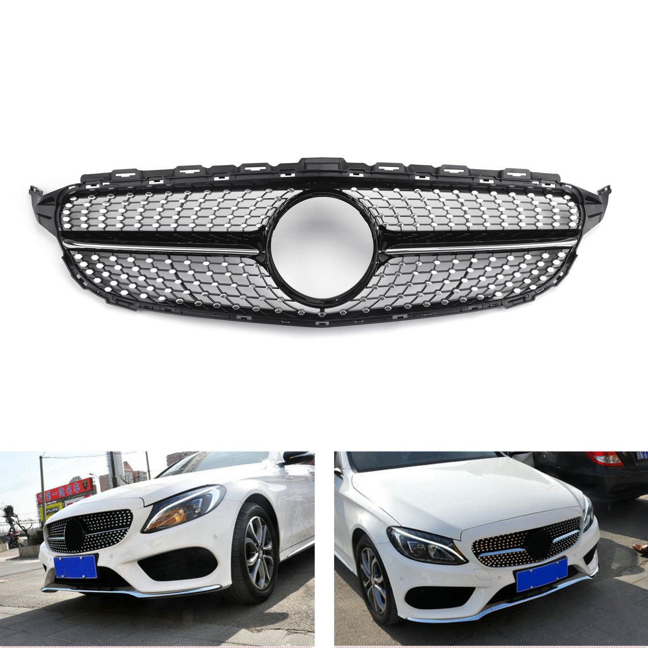 Front Diamond Grill Grille For Benz W205 C Class C250 C300 C400