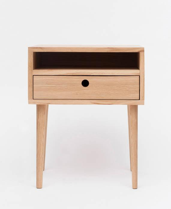 Oak Nigthstand Table With A Drawer Wooden Bedside Table