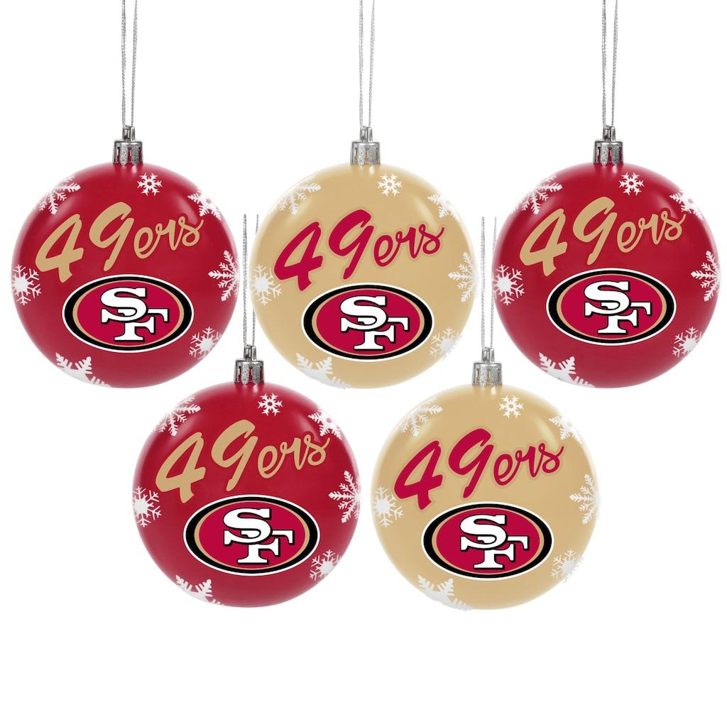San Francisco 49ers 5 Pack Shatterproof Ball Ornament Set Ornament Set Ball Ornaments Christmas Bulbs