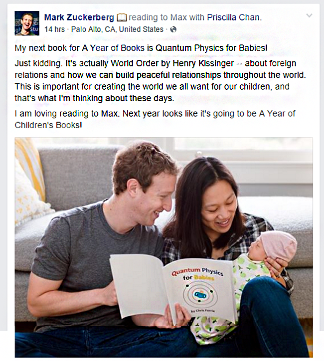 """#Facebook CEO #MarkZuckerberg is reading """"Quantum Physics for Babies"""" book to his daughter Max."""