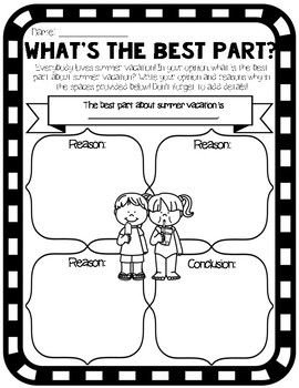 (2 pages) end of year opinion writing graphic organizer