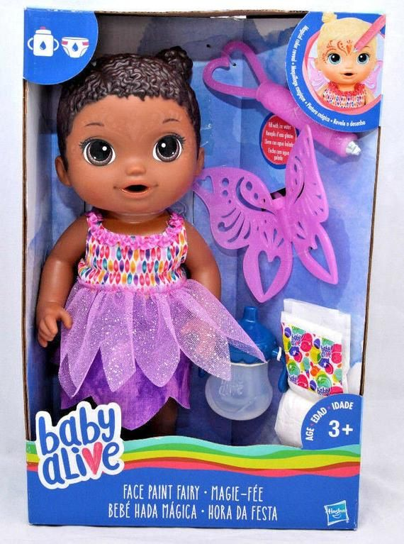 Baby Alive Face Paint Fairy baby doll AA African American 13 drinks & pees