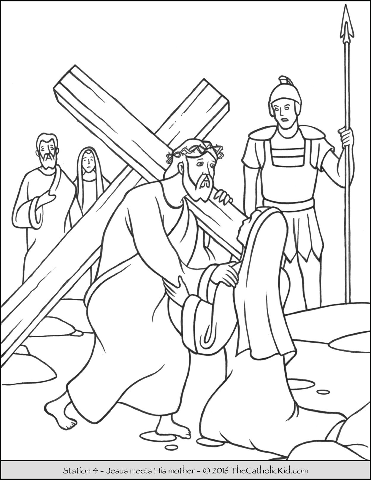 Stations of the Cross Coloring Pages 4 - Jesus meets His mother ...