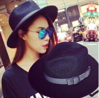 >> Click to Buy << Summer Straw Fedora Hat For Women Wide Brim Bow Knot Derby Bowler Hat Woman Summer Straw Fedoras Sunhat Black Woman Hats #Affiliate