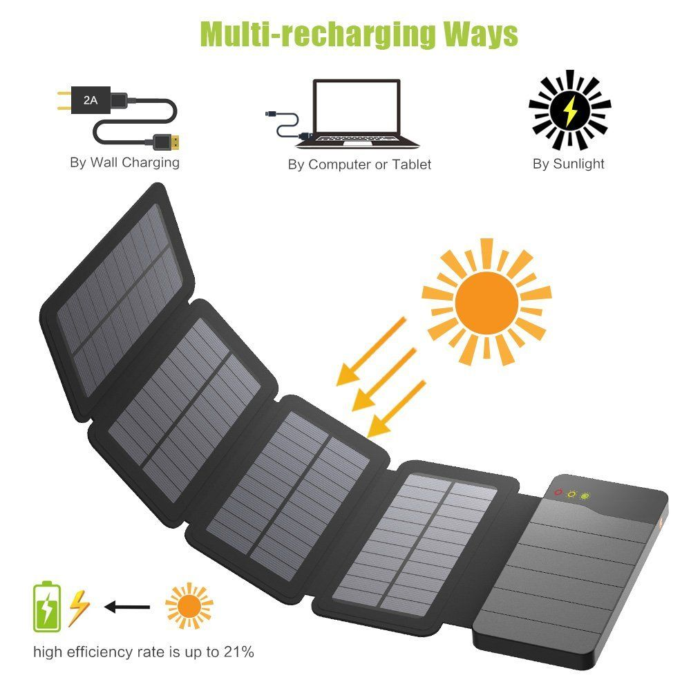 10000mah Solar Charger With 4 Solar Panels Solar Power Bank Solar Charger Powerbank