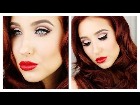 Old hollywood glamour makeup with red lips and a classic ...   Hollywood Glam Eye Makeup
