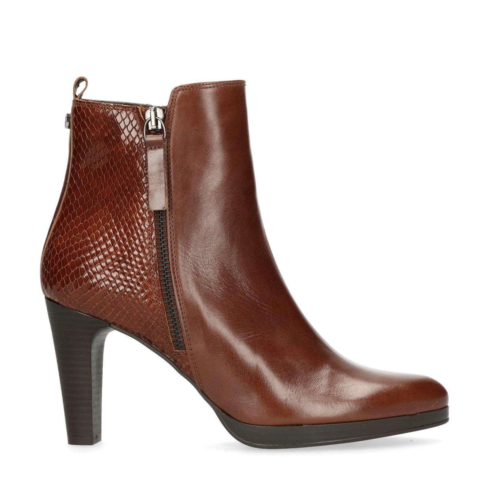 Cognac enkellaarsjes met hak Dames | MANFIELD | Footware