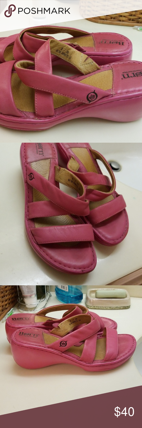 fc3f32ad0 Pink bjorn wedge sandal size 8 Very cute leather sandals dark pink Bjorn  Borg Shoes Sandals