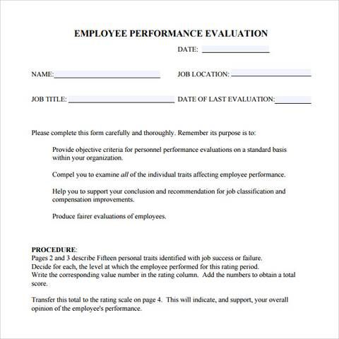 free employee evaluation form Manager Employee evaluation form