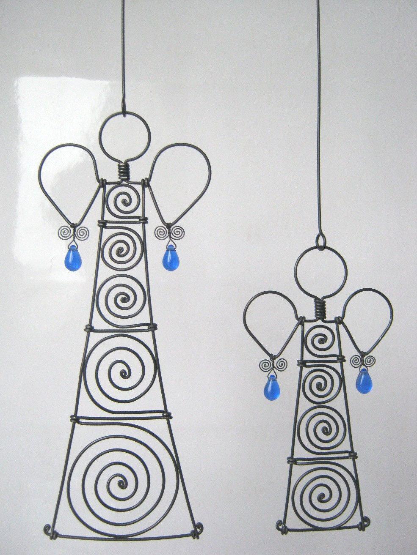 Metal Figure Sculptures Wire Angels In Cobalt Blue. 30.00, via Etsy.
