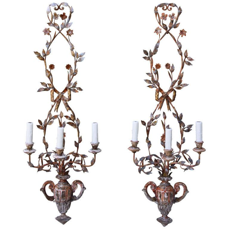 Pair of Three-Light Wood and Metal Sconces, Circa 1930s | From a unique collection of antique and modern wall lights and sconces at https://www.1stdibs.com/furniture/lighting/sconces-wall-lights/