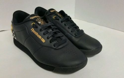 9ab87aa0a7 Reebok Princess Classic Leather Walking ladies Shoes Black Gold ...