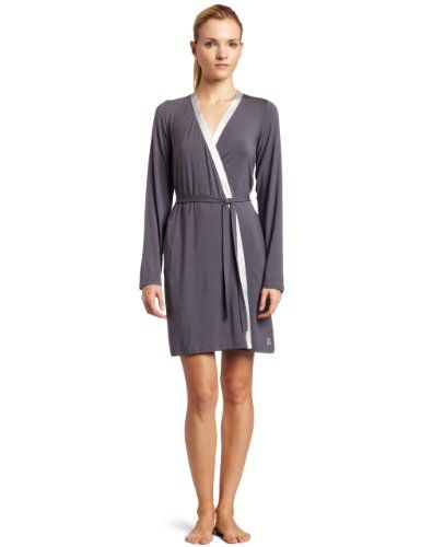 Calvin Klein Women's Essentials With Satin Long Sleeve Short Robe $75.00-want to find the similar one with a nice, comfy nightgown.