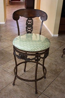 recovering chair cushions vinyl high covers amazon recover bar stools with fabric and clear she did four for about 15 total half hour each time must do this asap