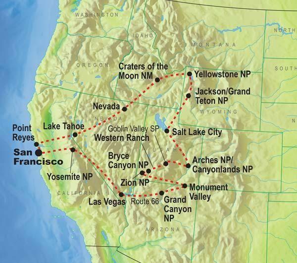 United States National Parks Western National Parks Of America - Map western us national parks