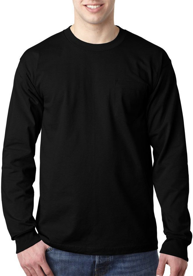 545e6b06f78 bayside adult long-sleeve tee with pocket - black (4xl)