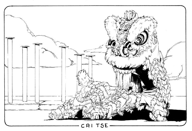 The Seventh Lion Ink Illustration Of The Chinese New Year Lion