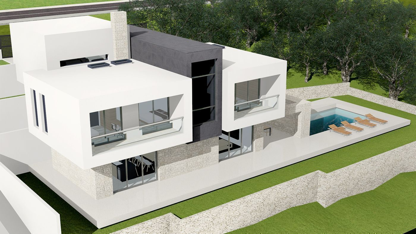 Exterior   Front Facade   Modern House Design In Dubrovnik. House Is  Composition Of Minimal White Cubes That Sits On Stone Ground Floor With  Central Dark ...