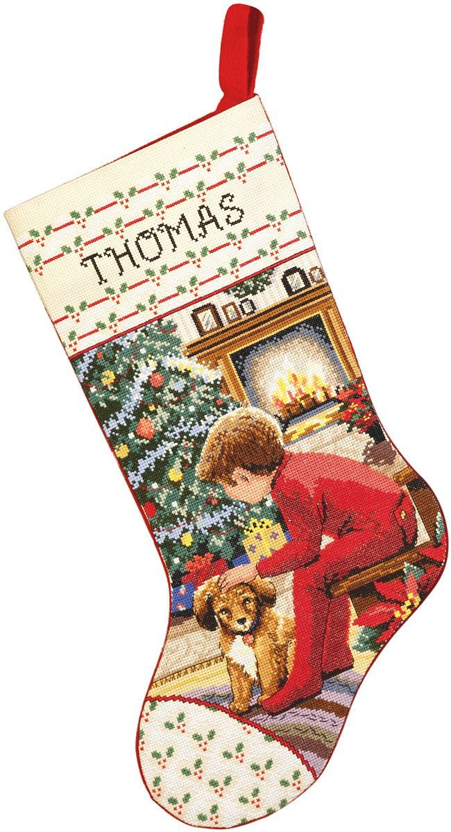 """Waiting For Santa Stocking Counted Cross Stitch Kit-18"""""""" Long 14 Count"""
