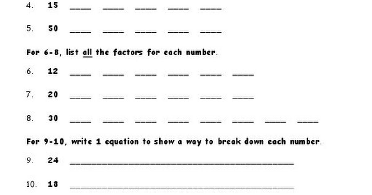 Multiples And Factors Pdf Math Activities Teaching Writing