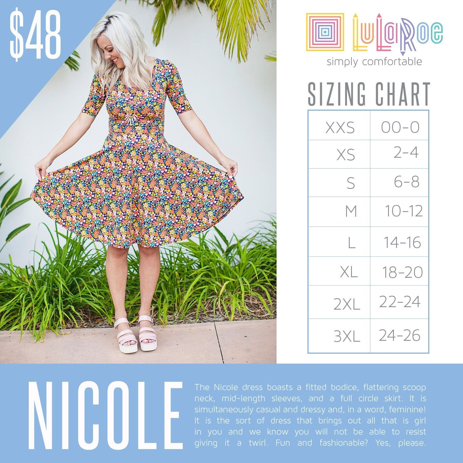 d74d888d711fb4 LuLaRoe Nicole Sizing Chart with Price
