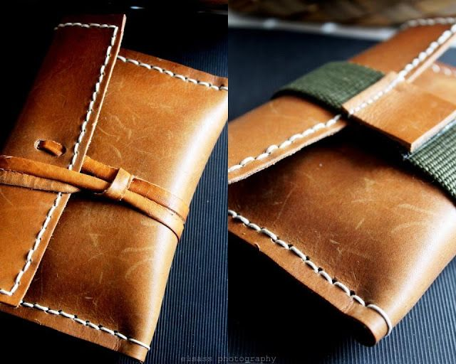 Leather clutch - i like the one on the left, with the wraparound leather piece
