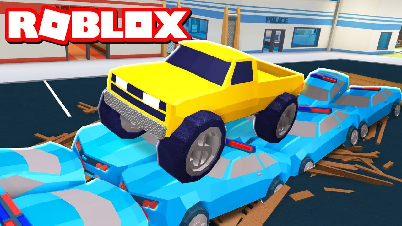 Destroying Cop Cars With A Monstertruck In Roblox Jailbreak