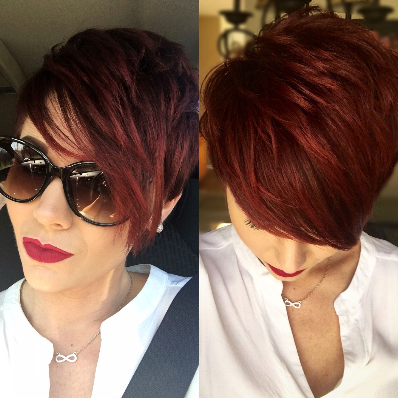 Red violet pixie cut                                                                                                                                                      More