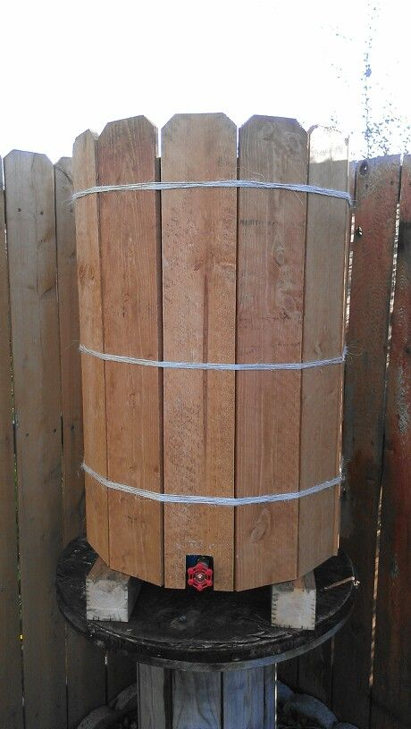 50 Gallons Rain Water Barrel Covered In Cedar Planks Collect Rain Water And Use It At Another Time Perfect For Wate Rain Barrel Stand Water Barrel Rain Barrel