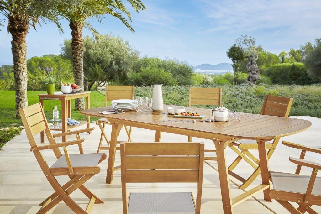Table et chaise en bois deucalyptus - Collection Hyba Eucalyptus ...