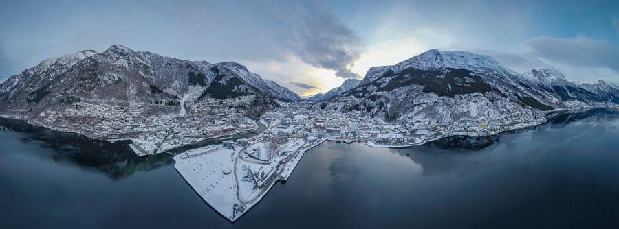 Drone-panorama of Odda in Norway