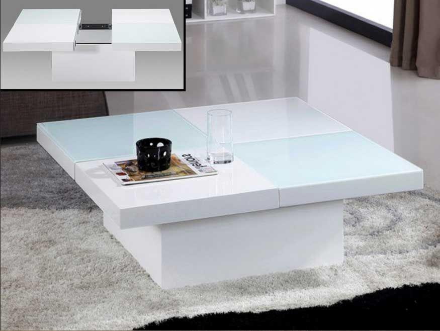 Couchtisch Weiss Glas Mit Ausziehbare Tischplatte Inklusive Stauraum