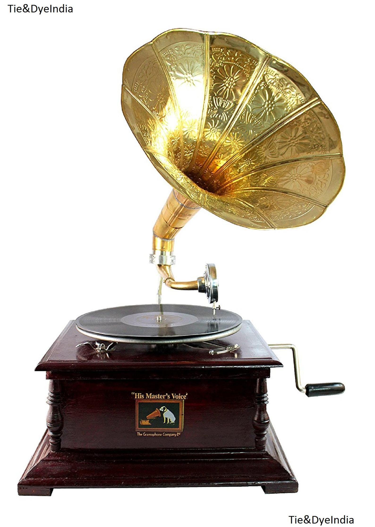 Vintage Wood Gramophone Hand Crank Music Box Home Decor Gifts Classic Phonograph