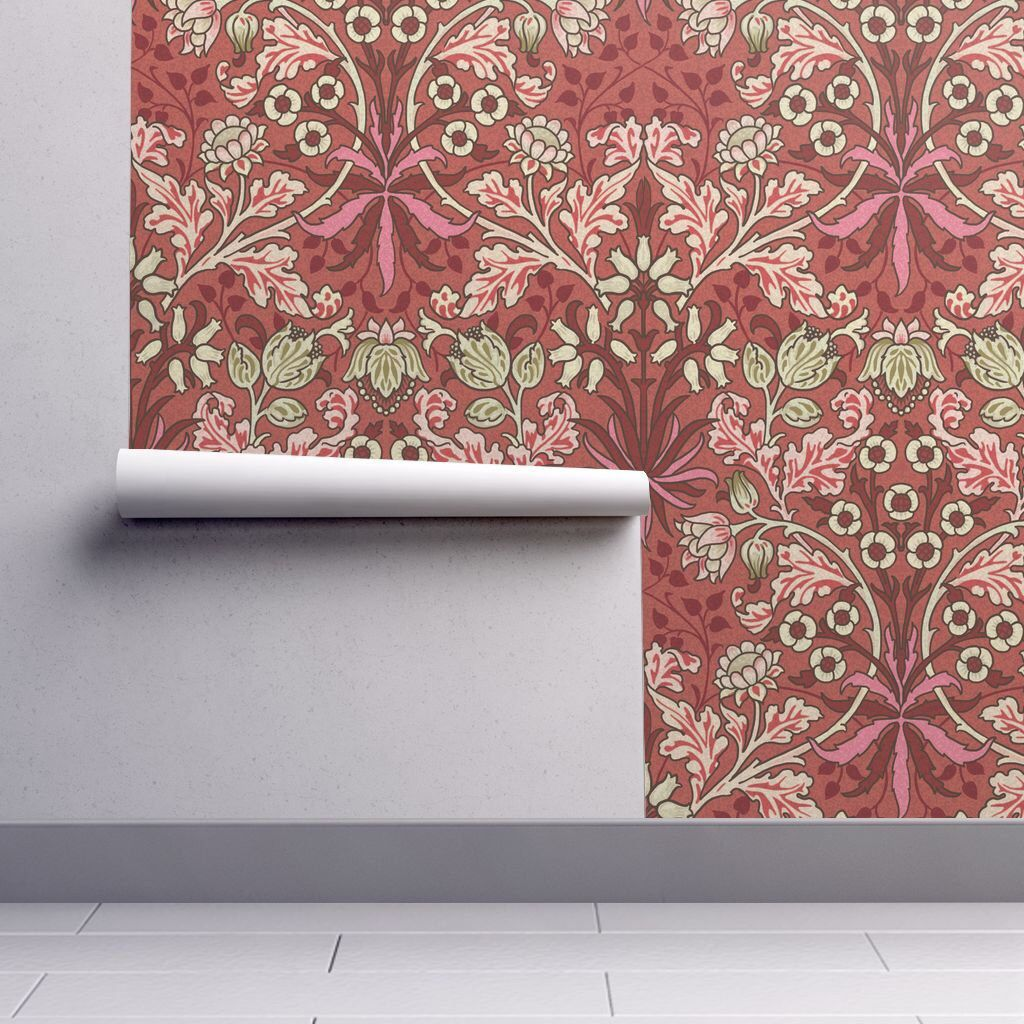 Vintage Foliage Original Colors By Chantal Pare Pink And Red Damask Custom Printed Removable Self Adhes Spoonflower Wallpaper Temporary Wallpaper Wallpaper
