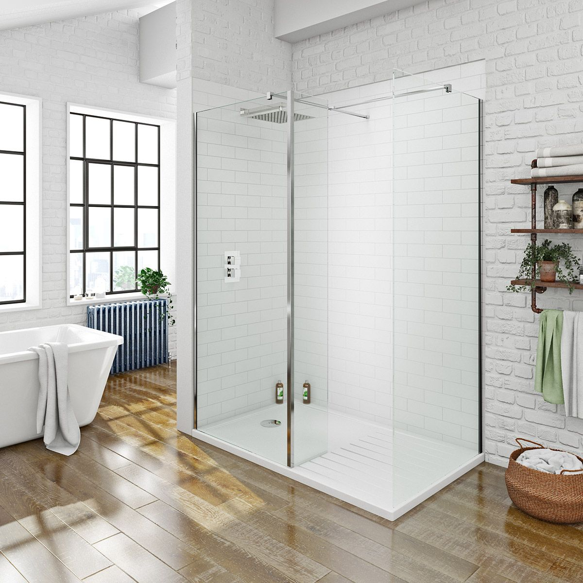 Mode luxury 8mm walk in shower enclosure pack with shower tray ...
