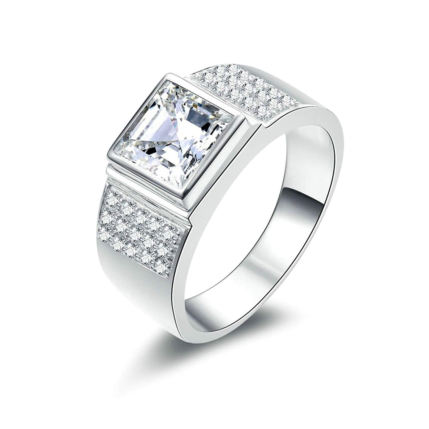 AMDXD Jewellery 925 Sterling Silver Promise Rings Girls Square Cut Cubic Zirconia Square Shape Ring